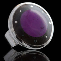 Silver Ring With set Crushed Semi Precious Stone - Tribu