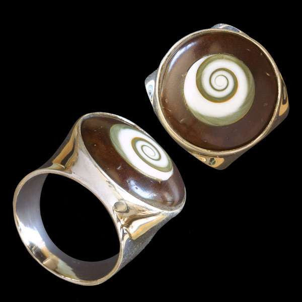 Silver Ring Set With Coconut And Shiva Eye - Tribu