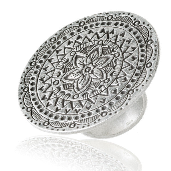 Mystic Flower Tribal Silver Ring