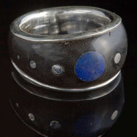 Silver Ebony Wood Ring with Lapis and Silver Dots Inlays - Tribu