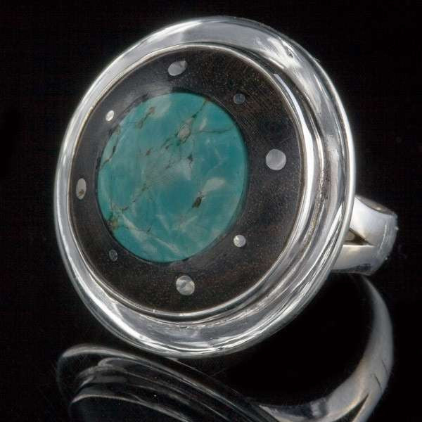 Silver  and Wood Ring with Silver Dots and set Turquoise - Tribu