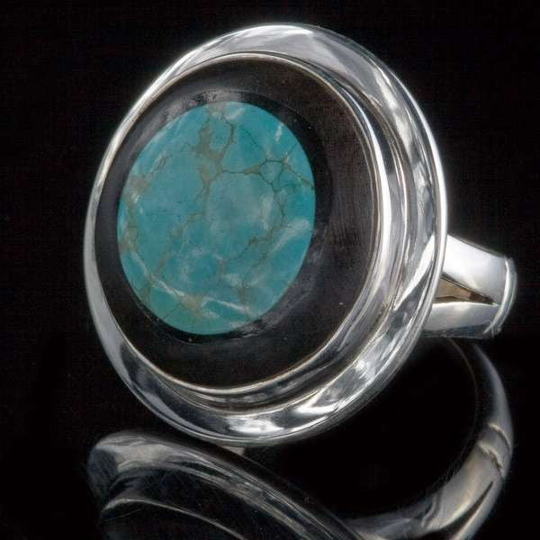 Silver Ebony Wood Ring with set Turquoise - Tribu