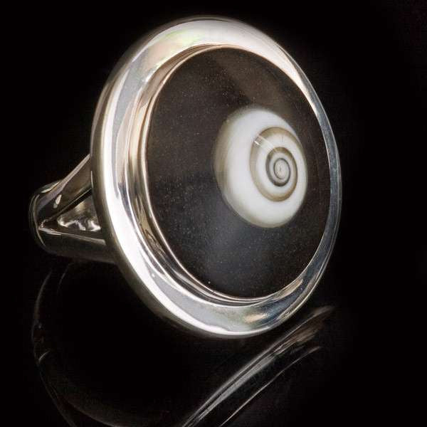 Silver Wood Ring With Shiva Eye Shell - Tribu