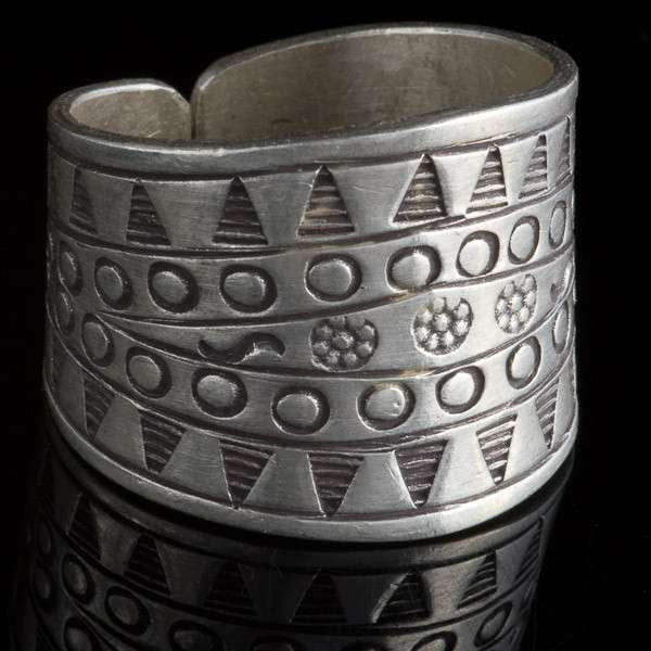 Adjustable Tribal Silver Ring with Tribal Stamping - Tribu
