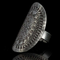 Tribal Silver Ring With Floral Etchings - Tribu