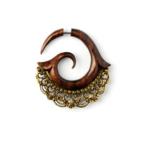 Rakau Wooden Fake Gauge Earring with Brass