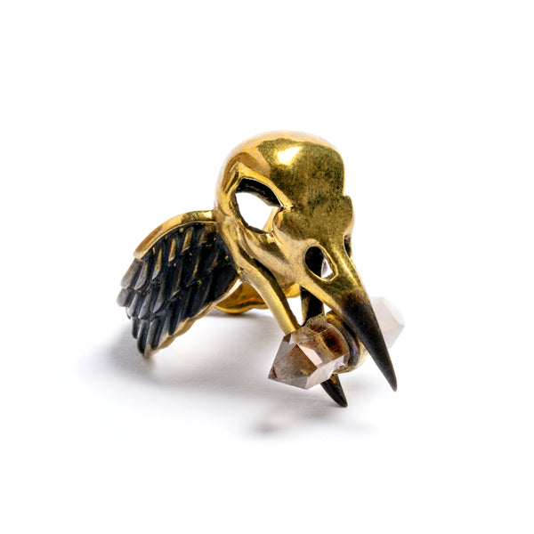 Raven Skull and Chrystal Ring