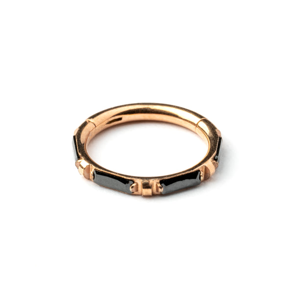 Onyx Rose Gold Hinge Segment Septum Ring