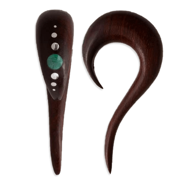 Rose Wood Ear Stretcher with Silver and Stone Inlay