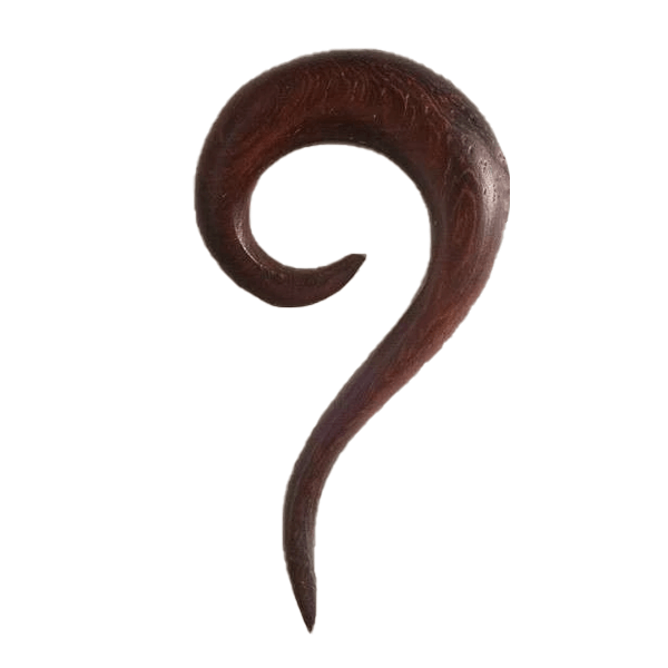 Rose Wood Ear Stretcher with Spiral Top