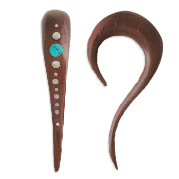 Rosewood Ear Stretcher With Turquoise And Silver Dots