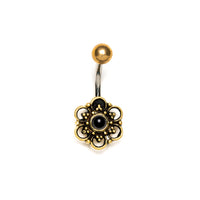 Round Flower Belly Piercing with set stone, Barbell, Belly Bar, Barbell Belly, Belly Piercing Jewellery, Belly Bar Piercing, Navel Bar, Belly Button Ring, Belly Ring, Piercing Jewellery, Body Jewellery, Navel Jewellery, Navel Piercing Ring, Banana Belly Ring, Banana Belly Bar,Belly Ring Dangle, Body Jewlery,