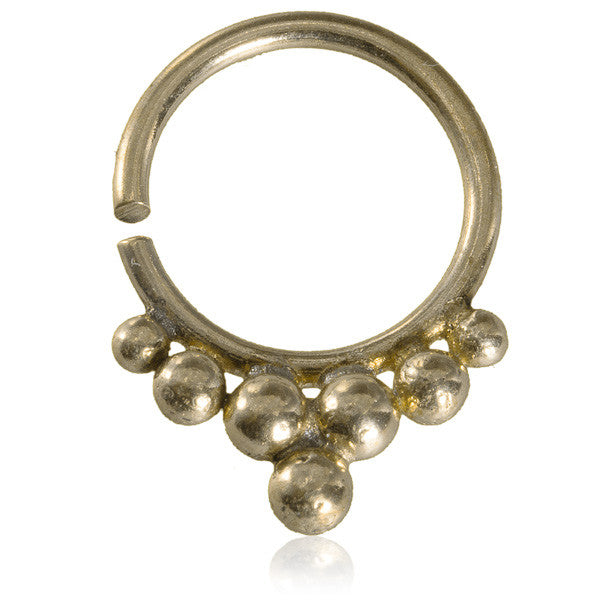 Brass Septum with Delicate Decoration.Tragus/Helix/Cartilage/Nose Ring - Tribu