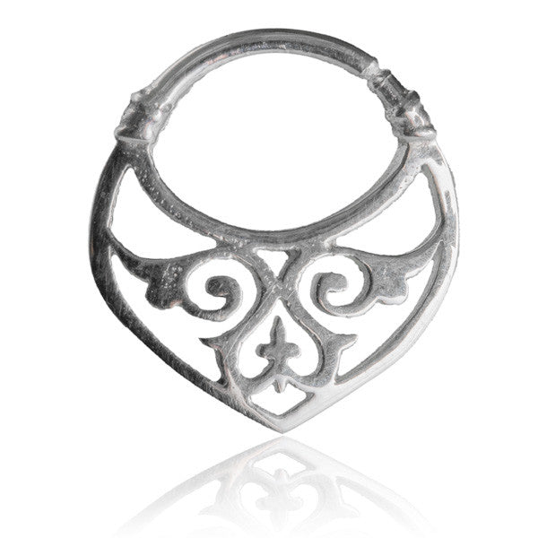 Silver Septum With Intricate Carvings. Tragus/Helix/Cartilage/Nose Ring - Tribu