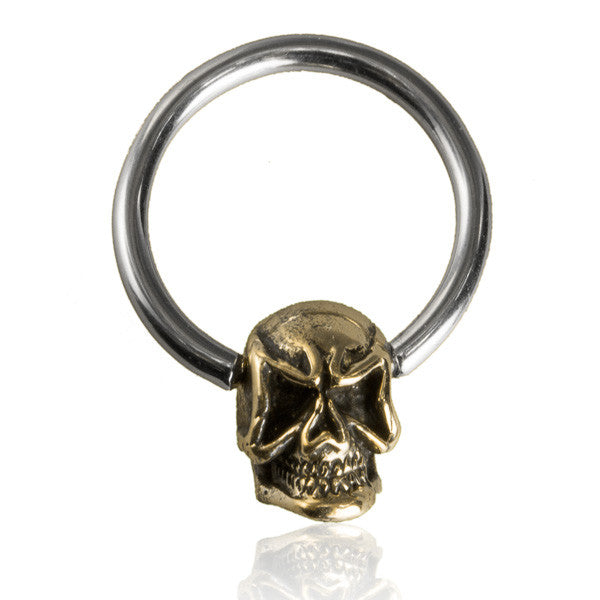 Brass and silver skull septum.Tragus/Helix/Cartilage/Nose Ring - Tribu