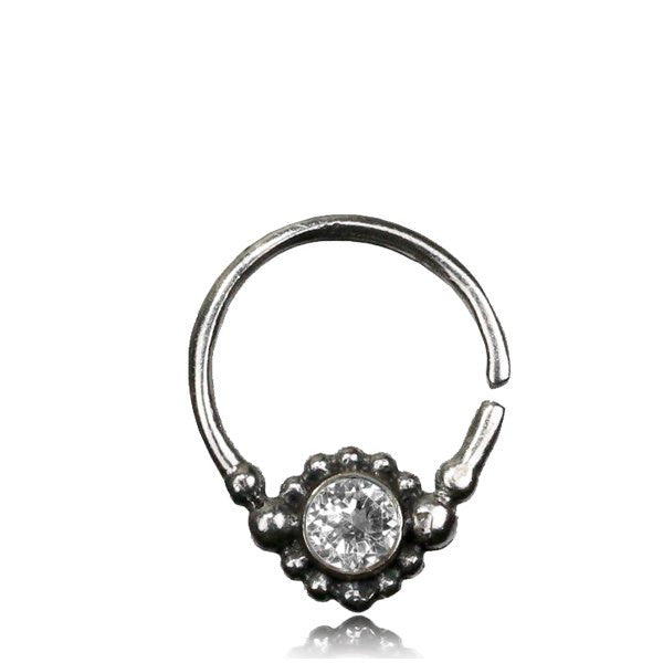 Nitya Silver Septum with Clear Crystal .Tragus/Helix/Cartilage/Nose Ring