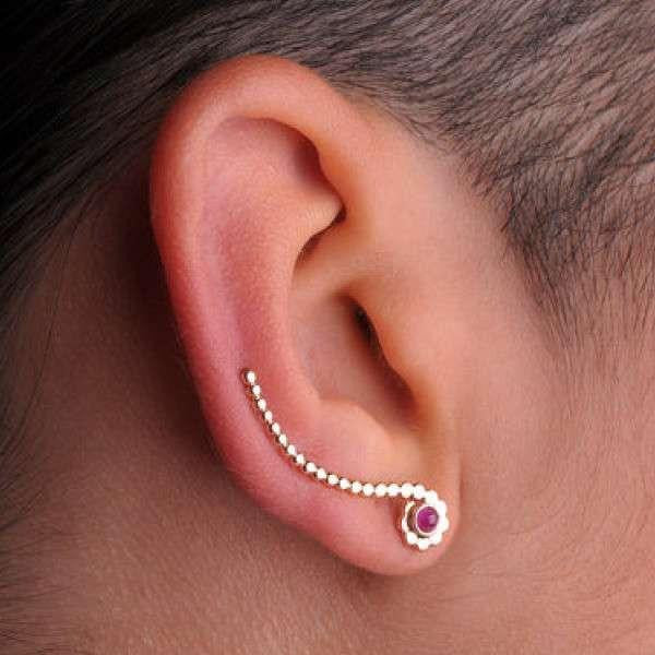 Gold Ear Climber with Single Stone
