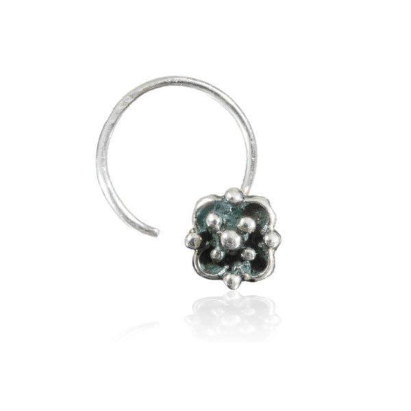 Four Dots Flower Silver Nose Stud - Tribu