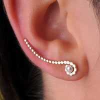 Hand Crafted Silver ' Climber' Ear Stud With Set Stone - Tribu  - 2