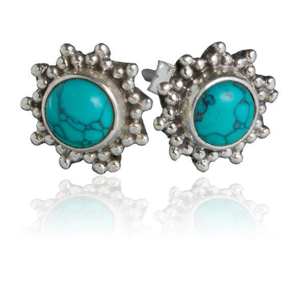 Silver And Stone Ear Studs - Tribu  - 2
