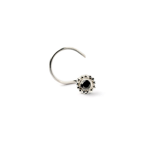 Black Spinal set in silver nose stud. G shape wire nose stud with precious stone