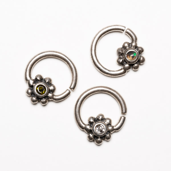 Silver Flower Septum Ring | Tribu London