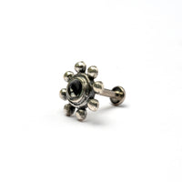 Flower Tragus Piercing with Black Onyx
