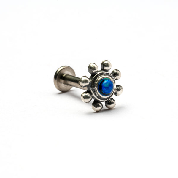 Flower Tragus Piercing with Blue Opal