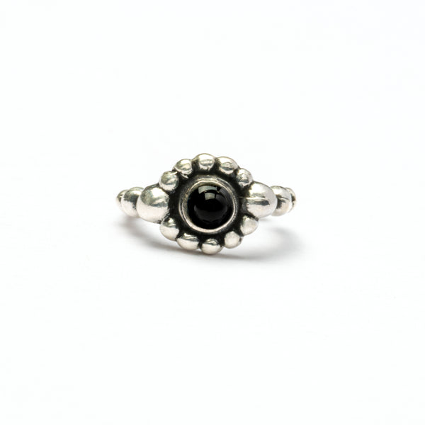 Silver Nose Ring With a Black Onyx