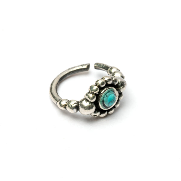 Silver Nose Ring with a Turquoise