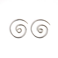 Silver spiral standard earrings