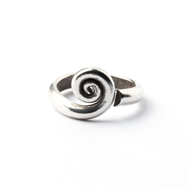 Adjustable Tribal Silver Ring With Spiralling Centre