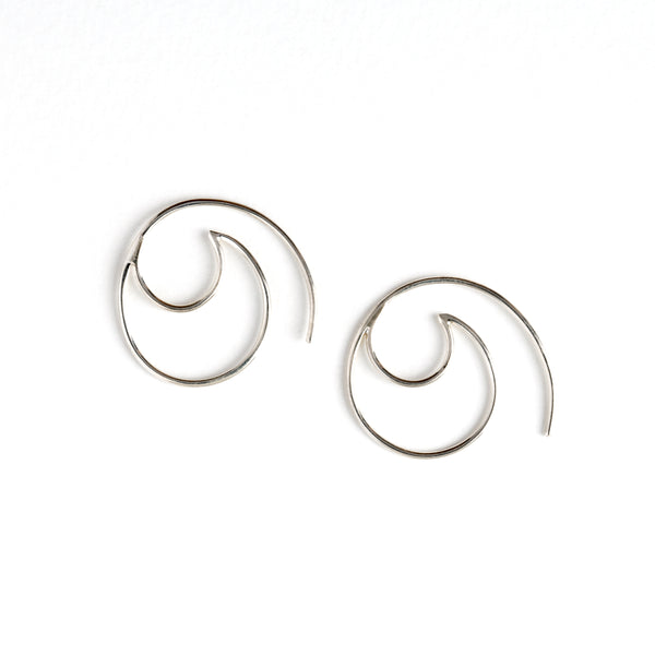 Silver Wave Frame Hook Earrings