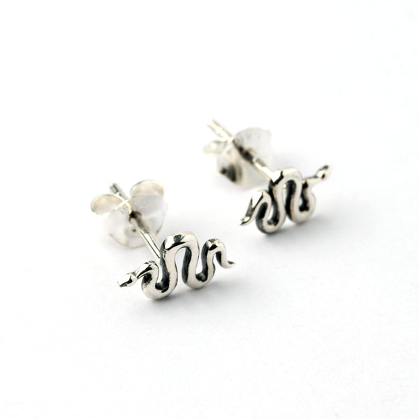 Silver snake ear stud earrings