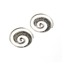 Spiral Feathers Tribal Silver Earrings