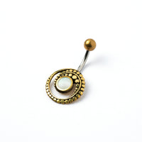 Brass & Mother of Pearl Belly Piercing
