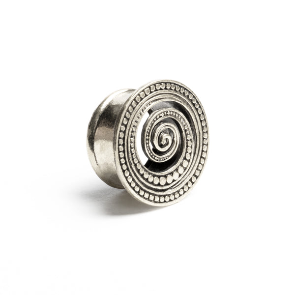 Spiral White Brass Flesh Tunnel