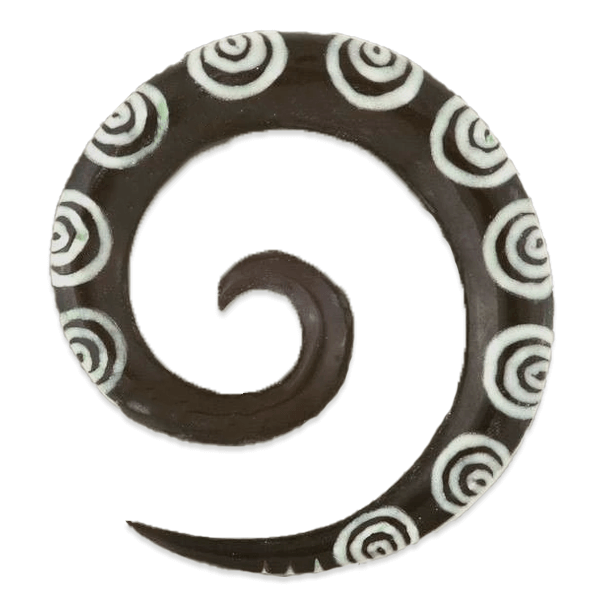 Spiral Ear Stretcher with Bone Inlays