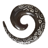 Spiral Ear Stretcher with Bone Tribal Pattern Inlays