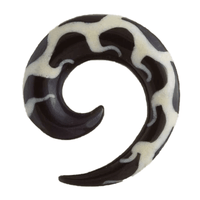 Spiral Horn Ear Ear Stretcher with Bone Flames Pattern Inlay