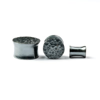 Hammered Black Silver Ear Plugs