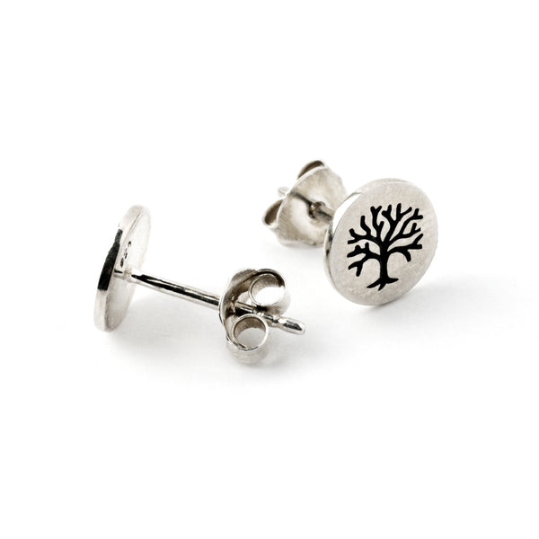 Sterling Silver Etched Tree of Life Ear Studs