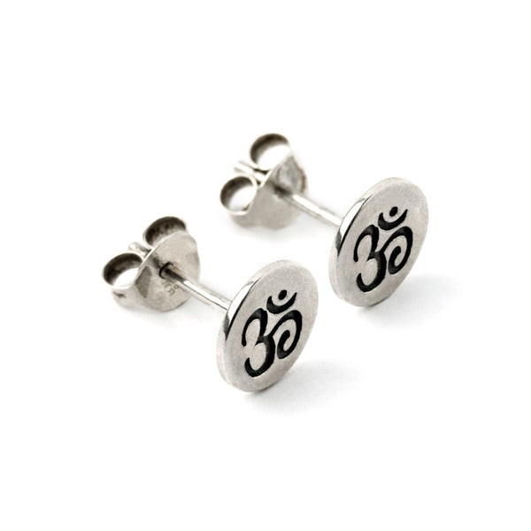 Sterling Silver Tiny Om Ear studs