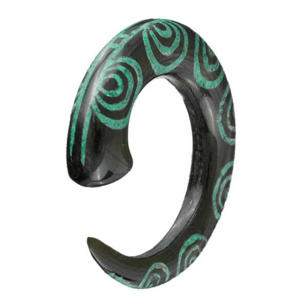 Stone Inlay Spiral Horn Ear Stretcher