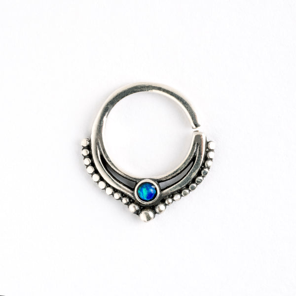 Sudeva Silver Septum with Stone.Tragus/Helix/Cartilage/Nose Ring