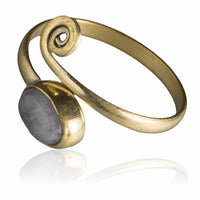 Brass Toe Ring Set With Stones - Tribu  - 2