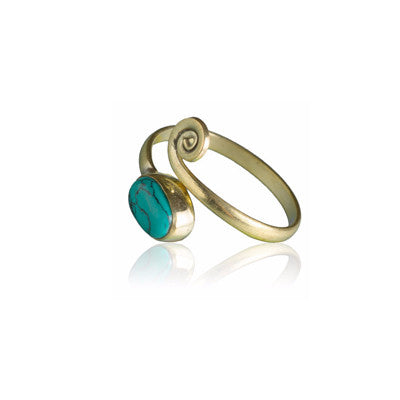 Brass Toe Ring Set With Stones