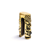 Tiki Brass Ear Weight with Onyx Stone