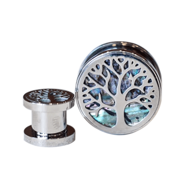 Tree of Life Surgical Steel Flesh Tunnel with Abalone Inlay