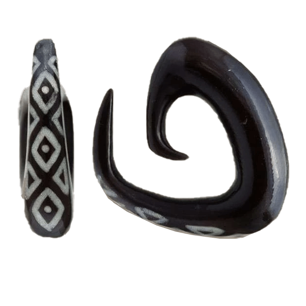 Triangular Spiral Ear Stretcher with Bone Inlays